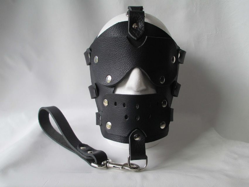 Black Leather Locking Bondage Face Mask, gag mask,